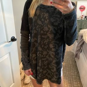 FREE PEOPLE THERMAL CHARCOAL ZIP LONG SLEEVE XS